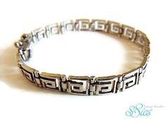 Mooie 925 zilveren Griekse sleutel armband Versace key by ssiesvintagesieraden on Etsy