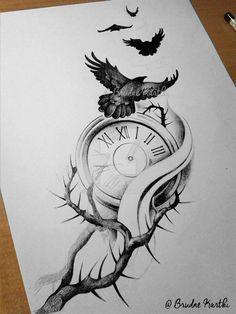 Arm Tattoo by ejthff.deviantart… on Arm Tattoo by ejthff.deviantart… on Tattoo inspiration Arm Tattoo by ejthff. Tatto Clock, Clock Tattoo Design, Tattoo Design Drawings, Tattoo Sketches, Tattoo Designs Men, Clock Tattoos, Bild Tattoos, Arm Tattoos, Body Art Tattoos
