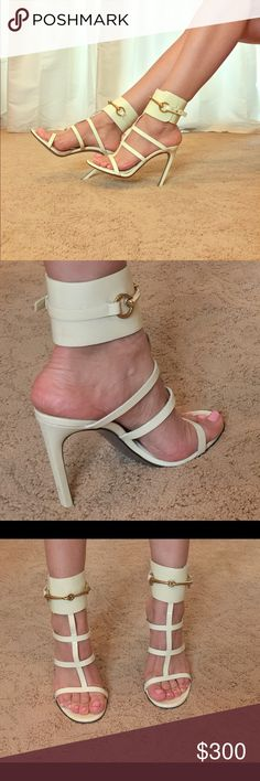 Ivory Gucci heels with ankle cuffs 😍 Ivory pleather, Gold Gucci buckle. Sexy heels for summer 🕶👒👗👡👡.  Cutest shoes for all your summer dresses. Cutest with jeans too! ❤️ Gucci Shoes Heels