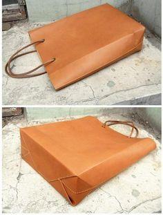 kraft paper like leather tote bag, via Etsy.