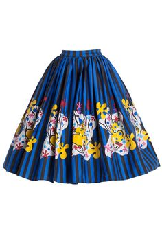 Pinup Couture Plus Size Jenny Skirt in Mary Blair Clown Border Print