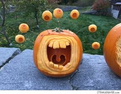 89 Pumpkin Decoration And Carving Ideas For Kids Halloween - Real Time - Diet, Exercise, Fitness, Finance You for Healthy articles ideas Scary Pumpkin Carving, Halloween Pumpkin Carving Stencils, Pumpkin Carving Contest, Amazing Pumpkin Carving, Pumpkin Carving Patterns, Retro Halloween, Halloween Jack, Halloween Crafts, Halloween 2020