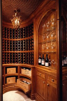 Curved wine room- great design,