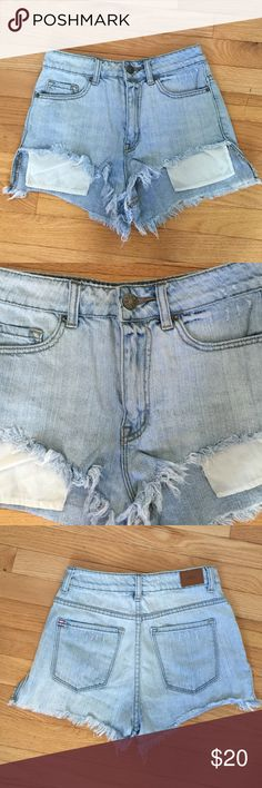 UO BDG high rise hi-low shortie shorts (26) ✨ UO BDG high rise hi-low shortie shorts. light wash.  (26) ✨ Urban Outfitters Shorts Jean Shorts