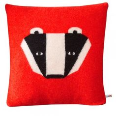 Donna Wilson Knitted Badger Cushion - Red - Donna Wilson from eggcup & blanket UK