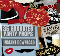 35 Gangsters Printable Photo Booth Props, Gangsters and flappers Photobooth props, gangster gatsby photo props, printable party by YouGrewPrintables on Etsy Wedding Photo Booth Props, Diy Photo Booth, Party Props, Party Ideas, Mafia Party, Gangster Party, Photobooth Props Printable, 60th Birthday Invitations, 1920s Party