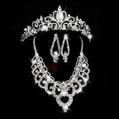 #TideBuy - #TideBuy Exquisite Shiny Rhinestone Embellished Wedding Jewelry Set (Including Necklace  Tiara  and Earrings) - AdoreWe.com