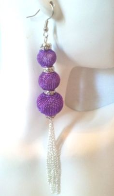 Purple and Silver Basketball Wives Inspired Earrings by AttayMik, $6.00