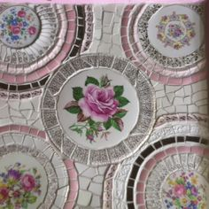 Great way to use broken china plates - Mosaic table by Alexa at A Rosy Outlook