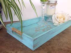 Wooden tray  shabby chic decor  turquoise by YouMatterDesigns