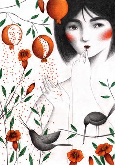 Posted: Sábado Agosto 3rd, 2013 at 10:19pm ♥ 123 notas · #Giulia Tomai #illustration #ilustración #woman #black hair #birds #red flowers