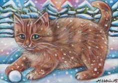 Orange Tabby Cat Kitten Winter Snow Xmas Original 7x5 Art Painting by Marta | eBay