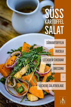 Süßkartoffelsalat ist ein ganz ausgezeichnete Beilage zum Grillen. Das würzige Dressing und der leckere Cheddarkäse machen diesen Salat zu einer leckeren Salatbeilage. #Süßkartoffelsalat #Süßkartoffeln #Salat #Grillen #BBQ #Barbecue #Kartoffelsalat #Foodblogger