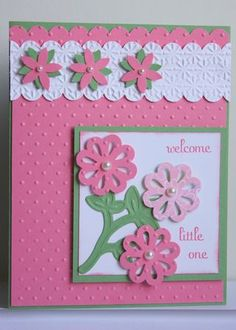 Supplies used: Snow Burst Embossing Folder Perfect Polka Dots Embossing Folder Sweetest Stem Embosslits Die Blossom Boquet Triple Layer Punch Scallop Edge Border Punch Basic Handmade Birthday Cards, Greeting Cards Handmade, Kids Cards, Baby Cards, Punch Art Cards, Embossed Cards, Pretty Cards, Paper Cards, Cool Cards