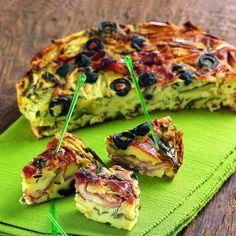 recette Weight Watchers - Clafoutis de jambon cru, olives noires et courgette…                                                                                                                                                                                 Plus