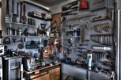 Machine room wall with lathe, tooling and metal chop-saw. | Flickr