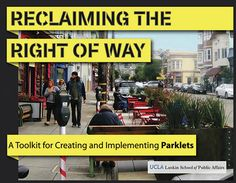 "Complete Streets Initiative recently released a parklet toolkit. ""Reclaiming the Right-of-Way: A Toolkit for Creating and Implementing Parklets"" features parklet case studies and designs from around the world, providing all the necessary ""tools"" to encourage users to adapt a program to their own communities. (you can download the toolkit here)"