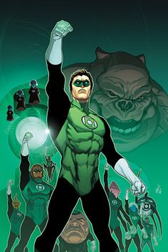 Green Lantern Art by Ivan Reis. Early in Hal Jordan's career, as evidenced by the lack of green over his shoulders.