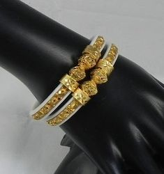 The Stylish & Chic Gold plated Shanka white color bangles bracelet bala set…