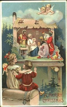 An antique Christmas postcard, the Nativity. Old Time Christmas, Old Fashioned Christmas, Christmas Scenes, Christmas Nativity, Christmas Greetings, Christmas Postcards, Birthday Greetings, Birthday Wishes, Birthday Cards