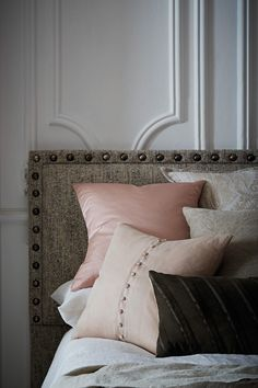 Headboard: Flint - Fog, Cleopatra Cushion with buttons in Passion, Olive Suede Cushion (bespoke), Samurai Cushion in Flint, Buffalo Cushion in Swamp. Luxury Interior, Interior And Exterior, Exterior Design, Bed Pillows, Cushions, Joinery Details, Bespoke Design, Furniture Upholstery, Occasional Chairs
