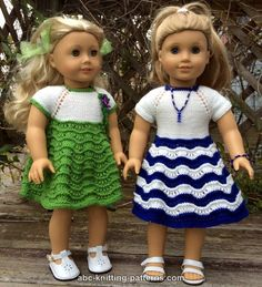 ABC Knitting Patterns - American Girl Doll Ocean Waves Summer Dress