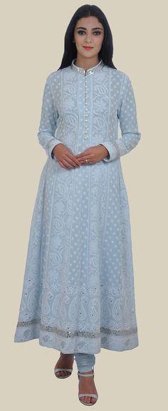 Powder Blue Chikankari Gota Patti and Sequin Zari Anarkali Suit