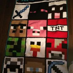 DONE!!!! In the washer right now!! I always love seeing a project complete!! #minecraft #yarn #redheart #rhss #c2c #corner2corner