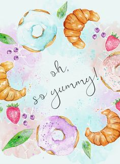 Oh So Cute!! Kitchen Dessert Print Instant Download Watercolor Donuts Doughnut Croissant Mint Pastel Chick Girly Wall Art Quote Printable, Oh So Yummy, #wallartprints #wallart #wallartdecor #kitchenwallart #doughnut #cutedecor #afflink
