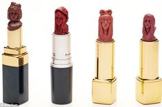 May Sum's lipstick art work features famous people like Lady Gaga, seen here in various looks #lipstick #carving #makeup