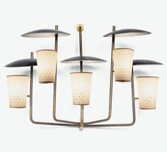 Anonymous; Enameled Metal, Brass and Glass Wall Light by Raphaël, 1954.