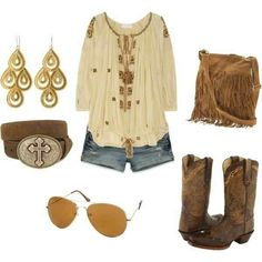 summer boots Everything rocks. Younger crowd yes. I may have rocked this in my earlier years:) hehe. Looks Country, Country Girl Style, Country Fashion, Country Outfits, Country Girls, My Style, Southern Style, Country Chic, Cowgirl Outfits