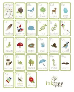 Very Cute both for learning and displaying! :)    Woodland Alphabet Wall Cards  4x6 Archival Giclee by InkTreePress, $20.00