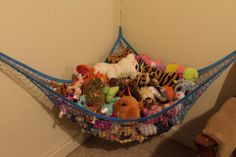 My daughter is 4 years old, and she absolutely loves stuffed animals. They are her favorite thing in the world, and she has a TON of them. They aren't the easiest thing in the world to store though, and I would go absolutely crazy if they were just thrown in random places all of the time. I bought this toy hammock so that all of her stuffed animals could have a designated place, and she could pick them up by herself and put them away.  This toy hammock was very easy to set up. The instructions Hammock Netting, Toy Hammock, Toy Net, Bright Decor, Organization Skills, Kawaii Room, 4 Years, Stuffed Animals, Decoration