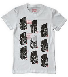 Vintage Camera Evolution TLR T-shirt Design (antique, retro camera, photography, photographer, interesting, t-shirts, tee, tees, t shirt, tshirt, creative, graphic, picture, photo, black and white)