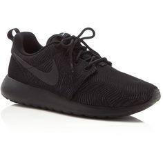 Nike Roshe One Lace Up Sneakers ($85) ❤ liked on Polyvore featuring shoes, sneakers, black, breathable mesh shoes, black trainers, black lace up sneakers, kohl shoes and breathable shoes