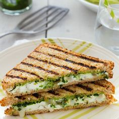 Grilled goat cheese with wild garlic pesto