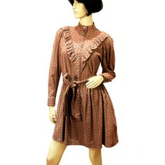 """""""Prairie Sprite"""" 70s Laura Ashley Dress, Granny Ruffled Mini, Brown Pink Cotton Wool S from MorningGlorious"""