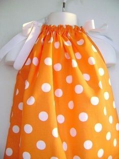 Orange and White Polka Dot Pillowcase Dress custom by CandSstore, $12.00