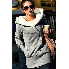 Kvinner tykkere Fleece foret hettegenser Coat – NOK kr. 83