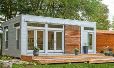 Blu Homes Origin prefab home with exterior view of front of home. Small Shed Plans, Small Sheds, Storage Shed Plans, Modular Homes, Prefab Homes, Tiny Homes, Container Home Designs, Loafing Shed, Backyard Studio
