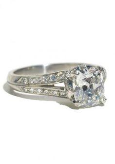 Louis Glick Cushion Cut 1.38ct Diamond Split Shank Ring | Oster Jewelers, Denver Colorado #mydiamondstyle #mybridalstyle