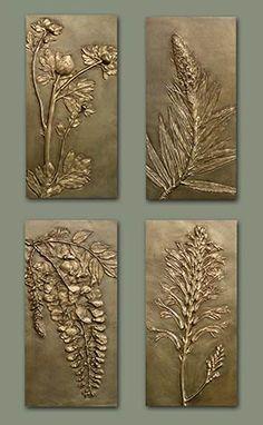 Set of Four Flower Panels x each. Available separately. Matilija Poppy, Pride of Madeira, Wisteria, Crocosmia. Art Texture, Texture Painting, Feuille Aluminium Art, Hot Glue Art, Aluminum Foil Art, Plaster Art, Plaster Crafts, Glue Painting, Clay Wall Art