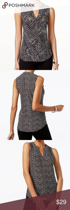 INC Printed Sleeveless Top w/ Zippers This top from INC International Concepts combines zipper details with a fun print for a wholly unique look. - V-neckline - Gold zipper trim at front bodice  Size information: Women's XXL (US) - Easy fit; hits at hip  Condition Notes: New with Tags  We will consider all reasonable offers. Thanks for shopping with us! INC International Concepts Tops Blouses