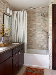 Tub/Shower Combo - This space-saving setup is found in about 65 percent of American homes, according to research by Delta Faucet Co. Bathers can fill the tub for a relaxing soak or hop in for a quick shower. Upgraded showerhead and a tiled tub surround can add layers of luxury to the basic setup.