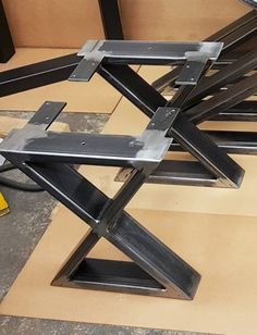 X - Style Bench, End Table, Side table Steel Legs. This listing is for set of 2 Steel Tubing X Bench Legs. 16 H x 12 W - Bench Legs - Made from Steel Tubing - 3 x 1 x 14 ga wall - Finish - Raw steel, Clear coated, Black flat. Welded Furniture, Iron Furniture, Steel Furniture, Furniture Legs, Furniture Dolly, Furniture Design, Modern Bench, Modern Dining Table, Modern Coffee Tables