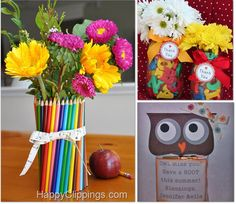 All of the ideas here are great teacher gifts but I LOVE the flowers with colored pencils and the ribbon made to look like a ruler. These are great because I know some teachers are funny about edible gifts.