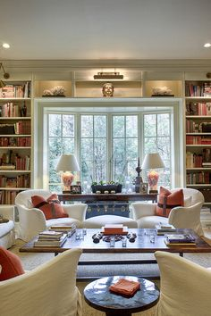window and bookcases