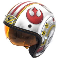 """Styled after Red Squadron's Rebel Starfighter helmets from """"A New Hope,"""" The HJC IS-5 X-Wing Fighter Pilot Helmet will ensure the force stays with you always. Classic ¾ styling with modern construction and features including a convenient drop-down sun visor, the HJC IS-5 Helmet achieves lightweight feel, superior fit and comfort, and vintage good looks."""