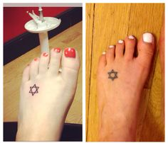 Feet can lose weight too. 90 lbs down. My Star of David tattoo. Placement. Small foot tattoo. Jewish tattoo. Before and after